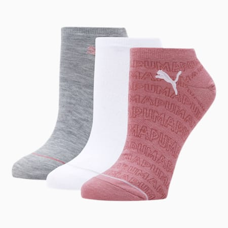 Women's No Show Socks [3 Pack], PINK, small